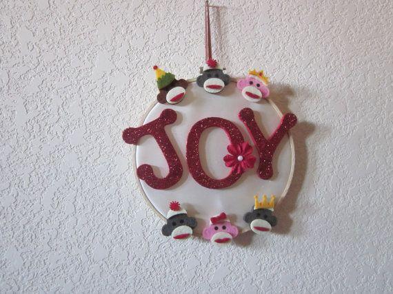 CHRISTMAS WALL ART Sock Monkey Decor by ItseeBitsee on Etsy, $15.00