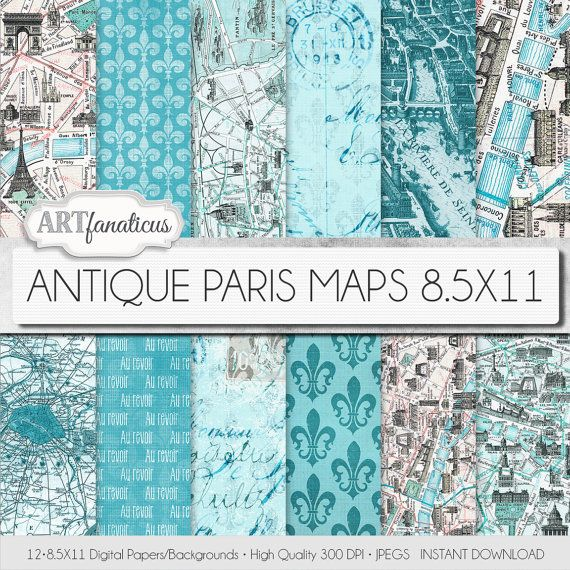 Paris maps 8.5x11 digital paper ANTIQUE PARIS MAPS by Artfanaticus  My backgrounds, textures, digital paper and clip art can be used for just about any project. Add some additional artistic style to your photo albums, photography projects, photographs, scrapbooking, weddings, invitations, greeting cards, gift wrap, labels, stickers, tags, signs, business cards, websites, blogs, party decor, jewelry & more.  For more digital papers, please visit Artfanaticus at:  http://artfanaticus.etsy.com