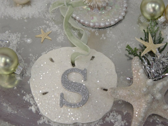 Glitter Sand Dollar Ornament  Monogram