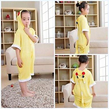 Kids Yellow Pikachu Modal Kigurumi Pajamas For Summer