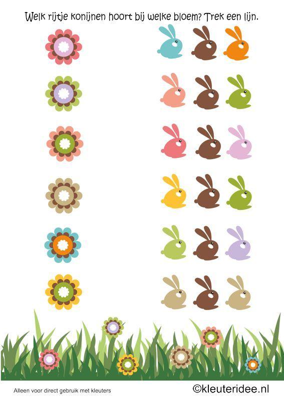 Welk rijtje konijnen hoort bij de bloem, let op de kleur, thema lente voor kleuters, kleuteridee.nl , spring, What rabbits row belongs to the flower, see the colors , free printable