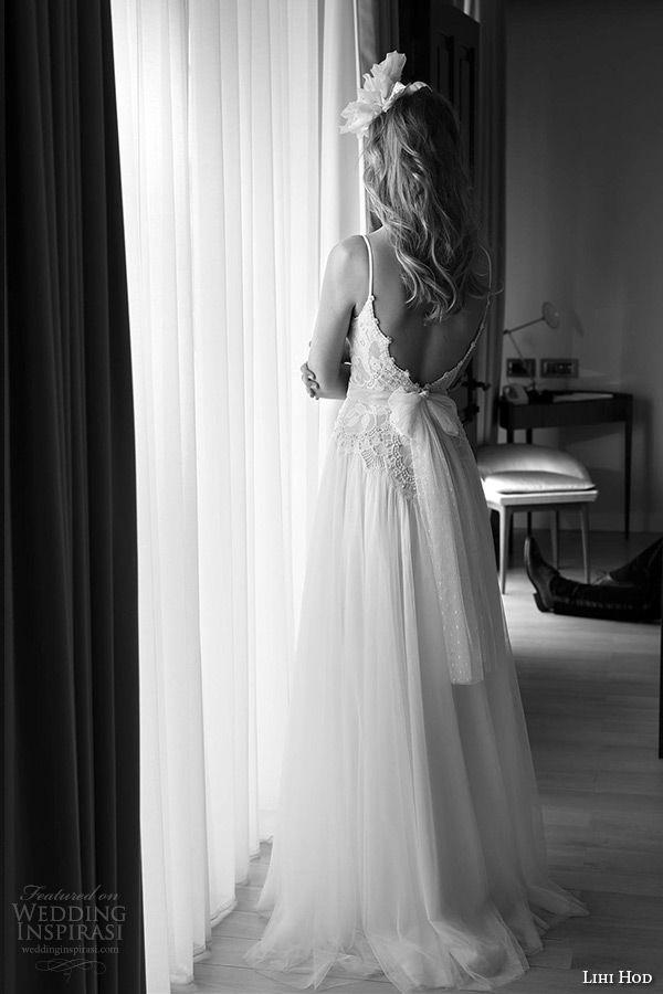 lihi hod wedding dresses 2015 bridal gown spagetti strap v neckline lace bodice tullet a line skirt full length dress style midnight ballerina back view