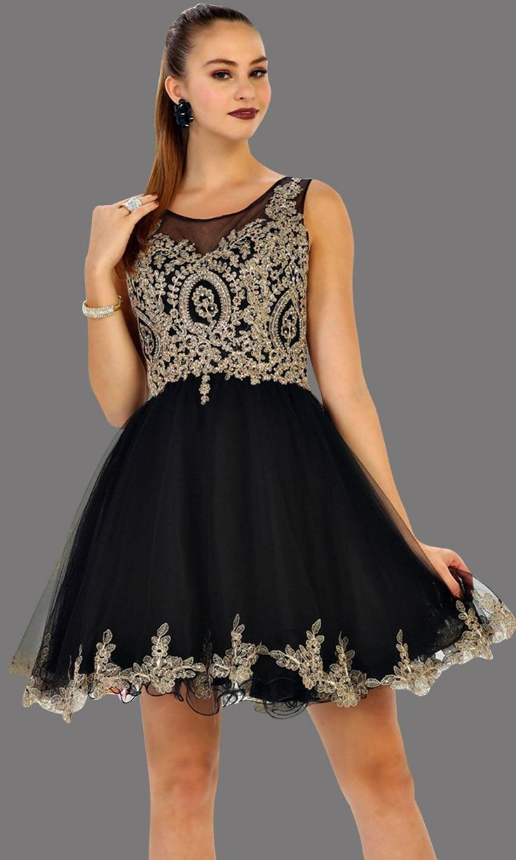 8a450373699 Short high neck black grade 8 grad puffy dress with gold lace. This black  grade