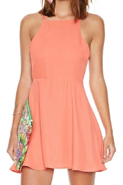 Backless Pleated A-line Dress