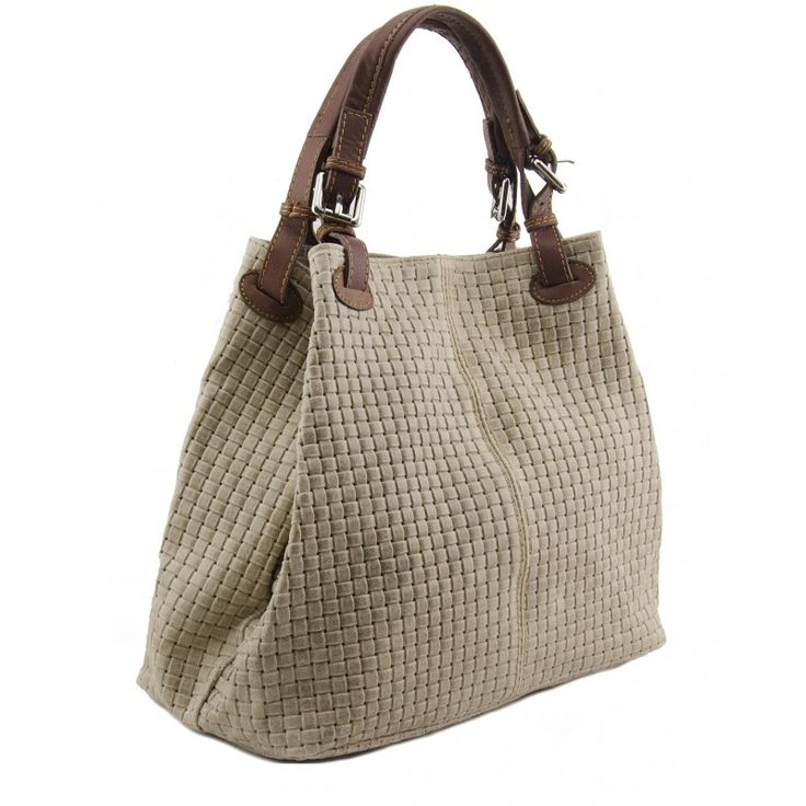 Italian Made, Genuine Leather Sholderbag / Handbag - Tess Taupe Sky