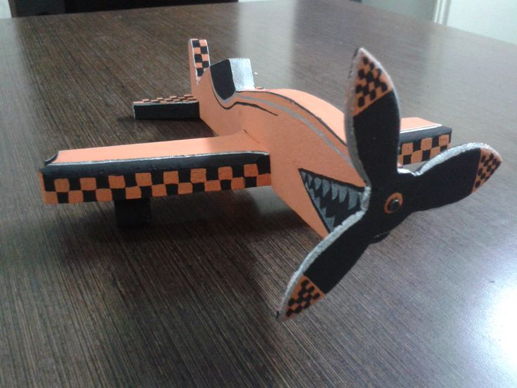 toy airplane in recycled wood