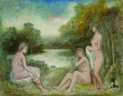 """Le Bagnanti di Carlo Carrà (1943, olio su tela, Collezione Mario Rimoldi), immerse nello spirto silvestre che D'Annunzio esprime ne """"La pioggia nel pineto"""""""