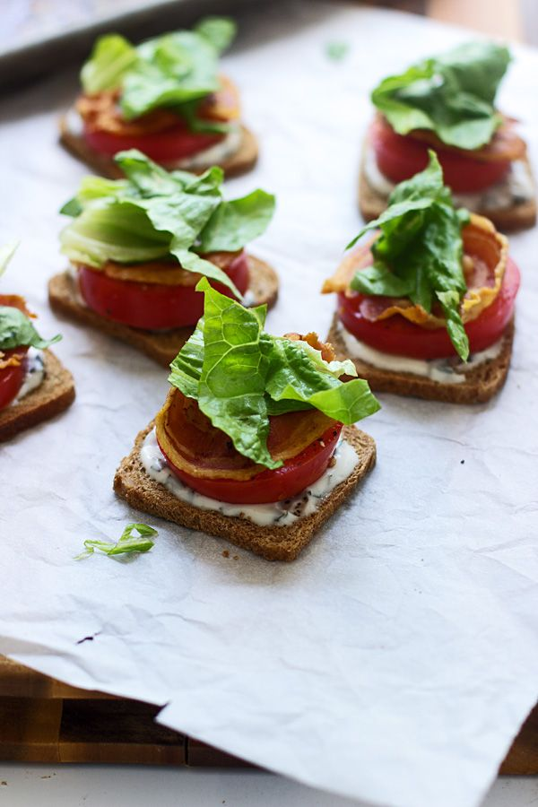 Mini BLT Sandwiches with Basil Lemon Mayo - Cooking for Keeps