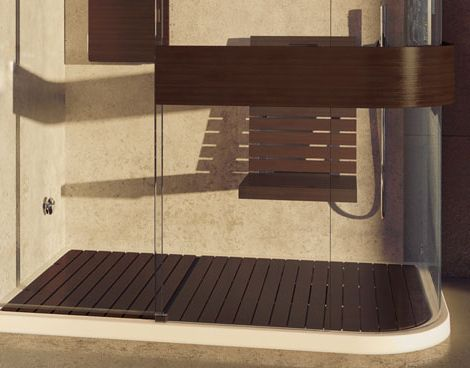Wood Shower Seat and Wood Shower Floor add luxury to Maax Expose shower
