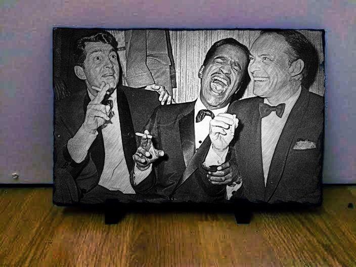 "Dean Martin Sammy Davis Jr Frank Sinatra Sketch Art on Slate Collectables 12x8"""