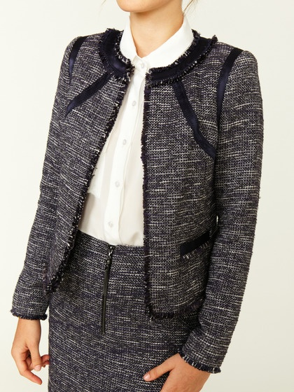 Magaschoni Satin Trimmed Boucle Jacket: Trim Boucle, Boucle Jackets, Earring