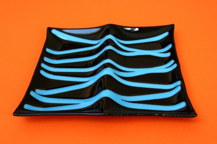 https://www.facebook.com/vitreamx Plato de vidrio decorativo negro y azul  SHOP ONLINE