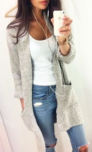 Casual outfit-grey cardigan, jeans and white top. Latest trends 2015.