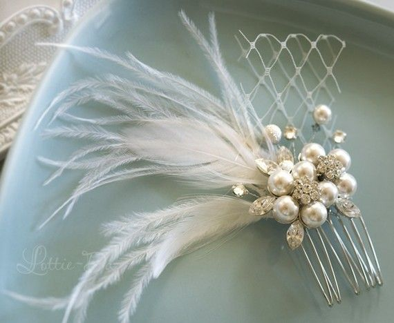 Vintage Wedding Hair Comb Bridal Hair Comb by LottieDaDesigns, $52.00