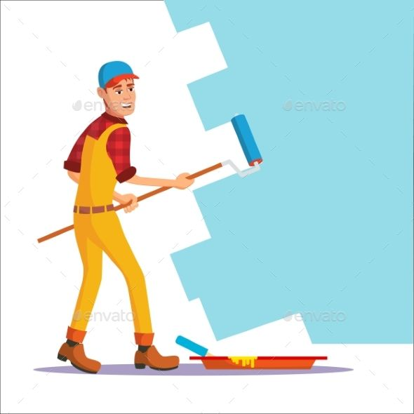 Wall Painter Vector Worker At Work Painting Wall Isolated Flat