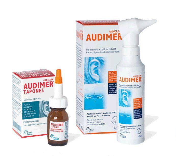 Audimer, completa gama para eliminar el exceso de cerumen y los restos de los tapones de cerumen. Oídos limpios, despejados y frescos.