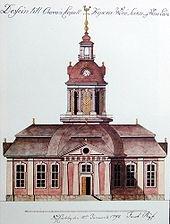 Design for Oravais Church, Finland; watercolour by Jacob Rijf, 1792
