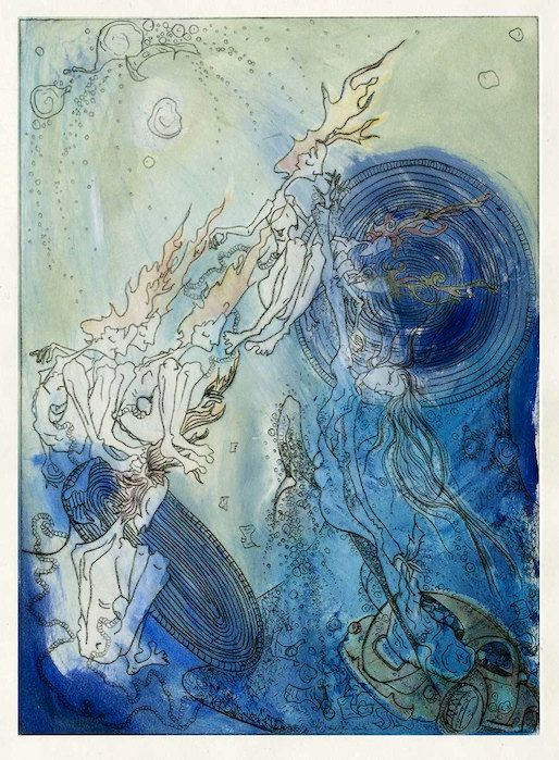 Cloud Atlas Drypoint Etching Print with Colour by PoppyRand, £15.00