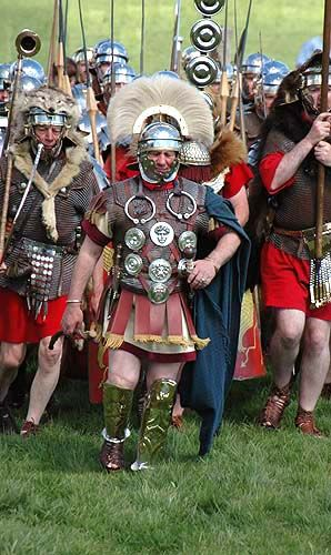 This is Ancient Rome. Their soldiers are set up in legions. The Roman Army is very well-organized and very effective. Watch out!