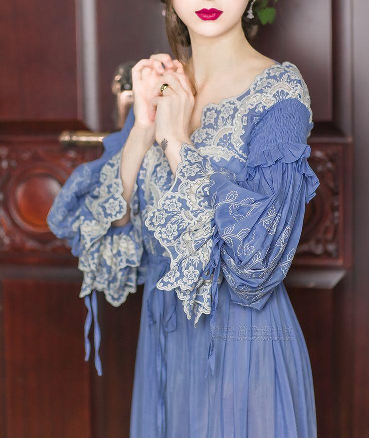 LYNETTE'S CHINOISERIE Spring Autumn Original Design Women Lolita Vintage Exquisite Embroidery Lace V-neck Silk Blue Maxi Dresses