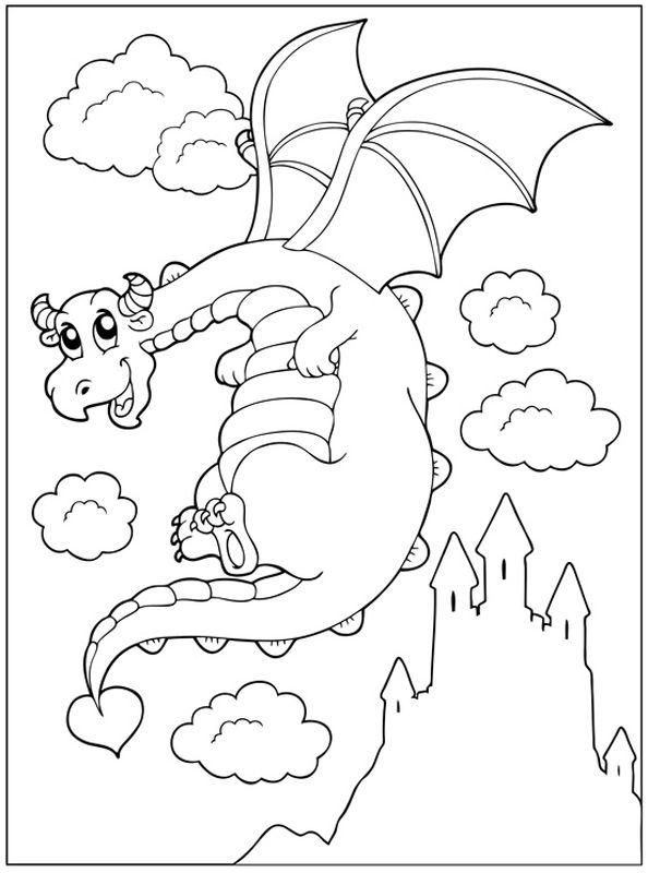 Ausmalbild Märchen: Kostenlose Malvorlage: Fliegender Drache vor einem Schloss kostenlos ausdrucken
