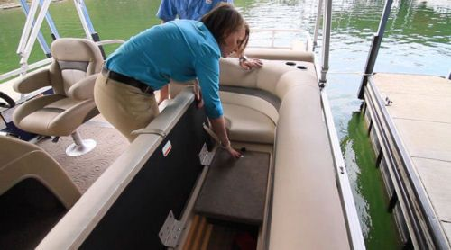 Sun Tracker Party Barge 22 XP3: Underneath the seat is storage, plus a unique all aluminum lockable storage compartment. This is unusual on pontoon boats and we think it is a good idea.