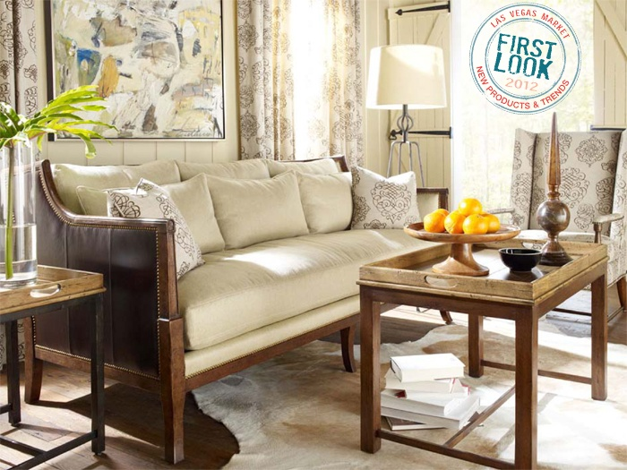 New from Ferguson Copeland: Montecito sofa; tray tables topped in a finish called Cashew; and a small-scale wingback chair. Check out more in the Robert Allen showroom during Las Vegas Market, July 30-Aug. 3.
