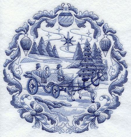 Delft Blue Christmas Machine Embroidery