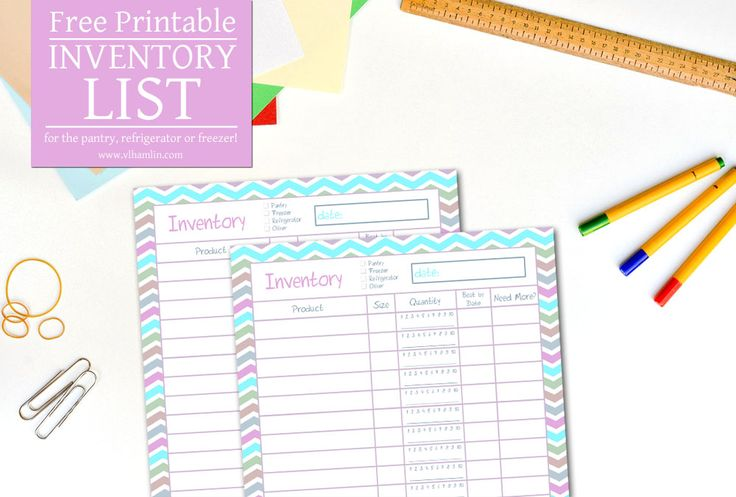 Save time and money when you use this free printable inventory list to keep track of all the food in your pantry, refrigerator or freezer.