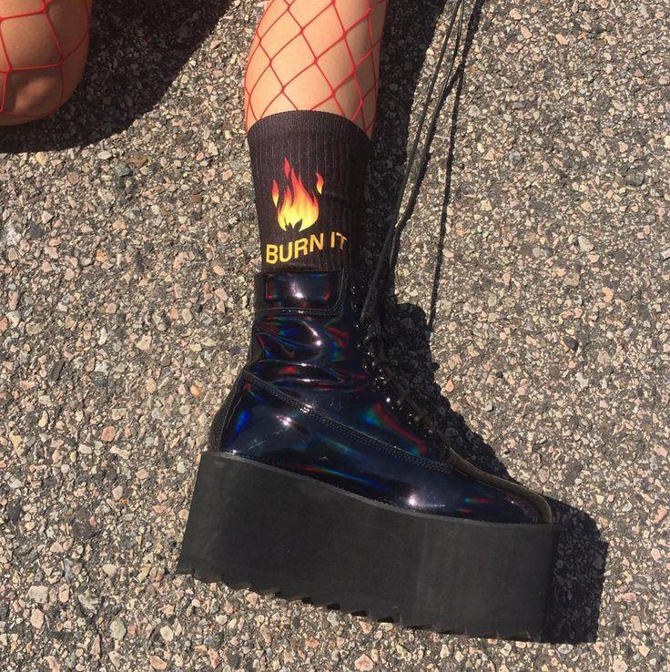 "Koko – koko – grunge ""burn it""- ""don't play with me boy"" socks (made in usa- sweatshop free)"