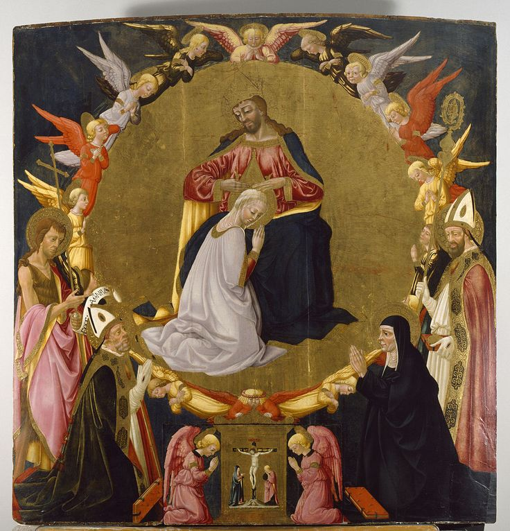 Neri di Bicci - The Coronation of the Virgin with Angels and Four Saints - Walters 37675 - Category:Neri di Bicci - Wikimedia Commons