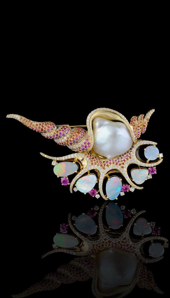 Segredos do oceano: Coleção  750 ouro amarelo, pérola barroca, opalas, diamantes, diamantes roxos, safiras coloridas.