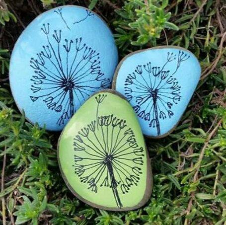 Dandelion Clocks, Hand Painted Pebbles, Unusual Gift, Interesting, Paperweight, …