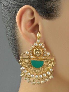 Onyx Mukut Earrings -- Majestic Marvels
