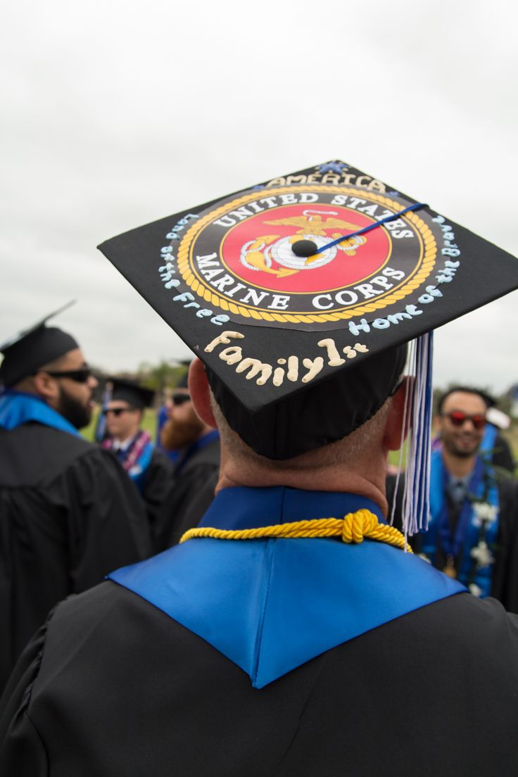 """United States Marine Corps."" CSUSM graduation cap. Mortarboard decoration ideas | California State University San Marcos Commencement 2014"