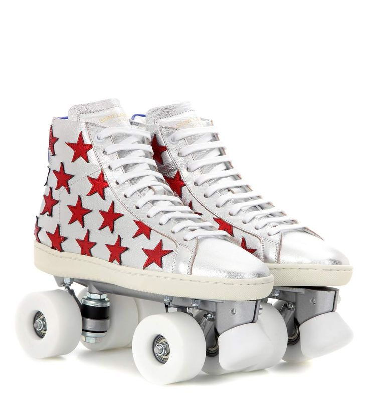 Nice Silver red and blue leather roller skates