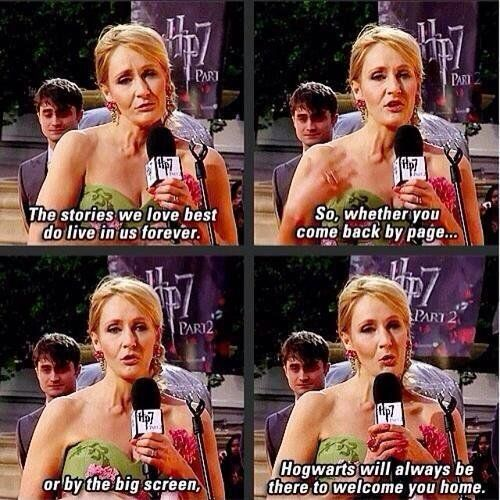 """""""Hogwarts will always be there to welcome you home."""" #4YearsDH2Premiere"""