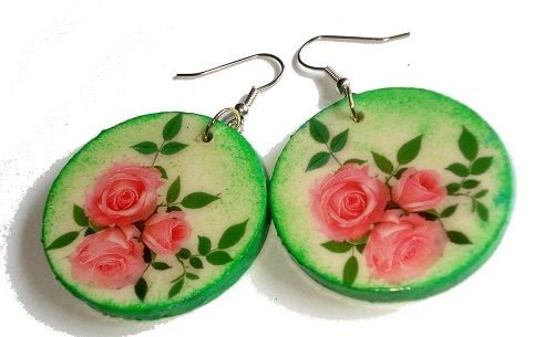 Decoupage - earrings https://www.facebook.com/eliatelierdecou