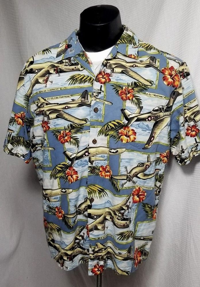 85b3db2e Kalaheo WWII Bomber Airplane Hawaiian Aloha Shirt Made in Hawaii USA Large # Kalaheo #Hawaiian