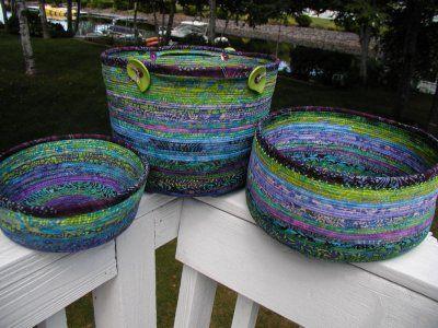 fabric-wrapped clothesline baskets