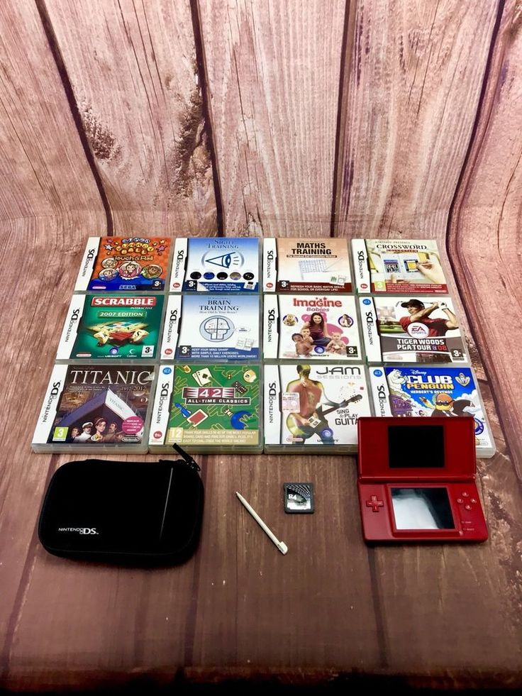 ds lite Bundle Red Console 42 Games Nintendo Case Black Mario World Mario Kart