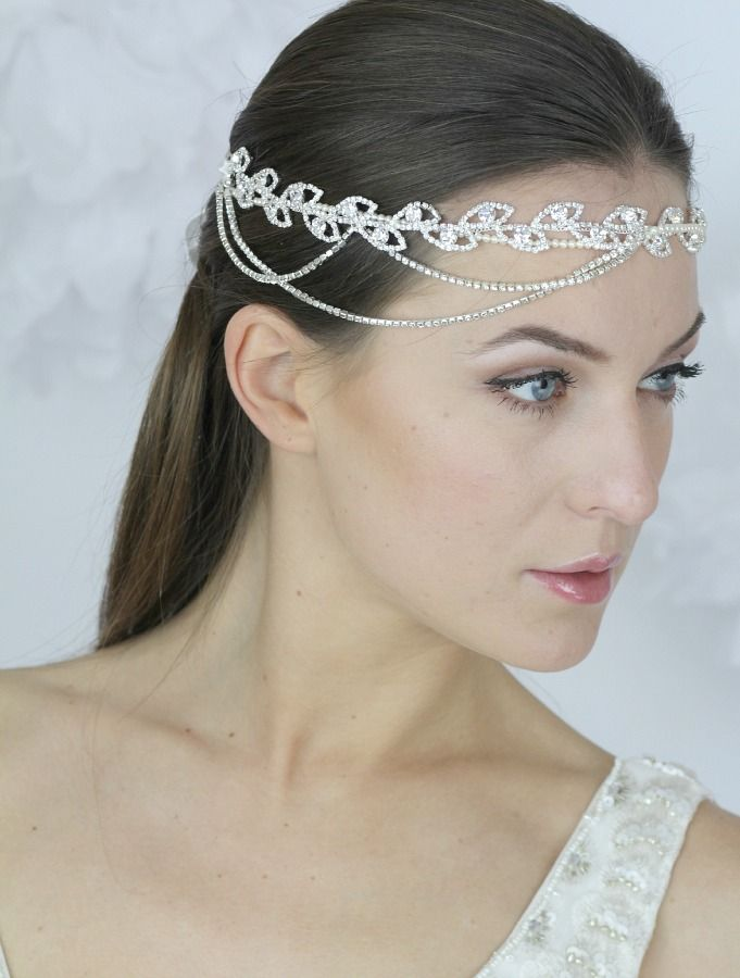Crystal Chain Drop Headband by Jurgita