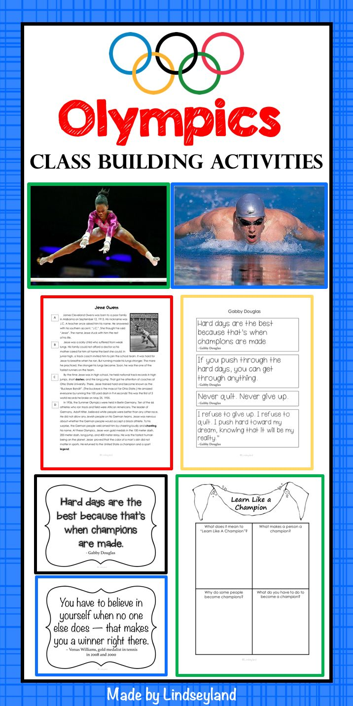 Back to School Olympic Style! Teach students about the Olympics while instilling the important qualities of perseverance and grit. 55 pages of informational text and class building activities with lesson plans. Made by Lindseyland.