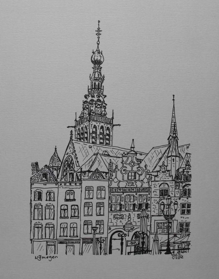 Nijmegen, pentekening, inkt op papier, Hilke Lagrand