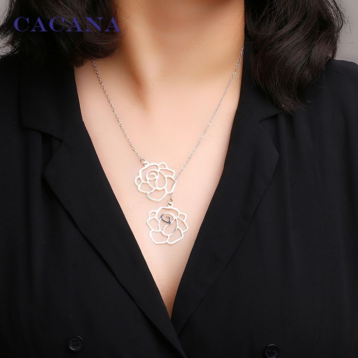 CACANA Necklace Rose Flower Pendant Necklace 2 Colors Women Chokers Necklace Wholesale Jewelry Bijouterie N7