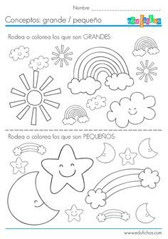 Fichas para niños. Aprender las diferencias entre tamaños: grandes y pequeños.  http://www.edufichas.com/actividades/conceptos/cualitativos/conceptos-grande-pequeno/  #fichas #infantil #grande #pequeño #diferencias