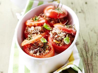 Tomaten met gehakt en wilde rijst