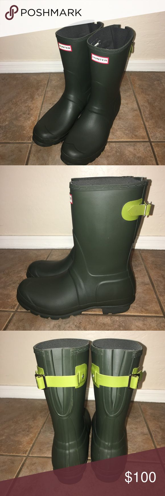 Hunter Short Adjustable Back Boot Wellies sz 9 No Trades, No Box, Freshly Cleaned, Shows some wear around Boot and on bottom soles Hunter Boots Shoes Winter & Rain Boots