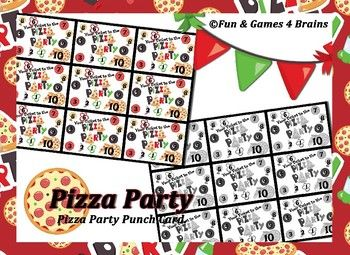 Pizza Party Punch Cards --- Behavior punch cards ticket to