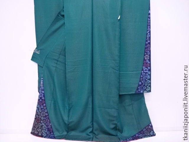 """Купить Японское кимоно karieba для фурисодэ """"Глубокое зеленое море"""" - морская волна, кимоно"""